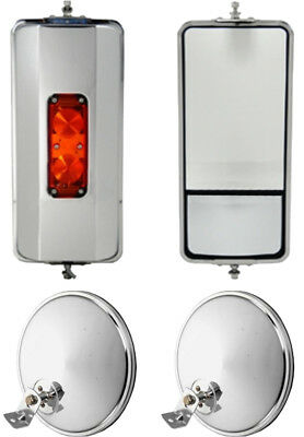 """Set of SS West Coast Heated Lighted Mirrors and 8.5"""" Offset Convex Truck Mirrors"""