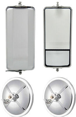 """Set of SS West Coast Heated Mirror w/ Convex and 8.5"""" Convex Truck Mirrors"""
