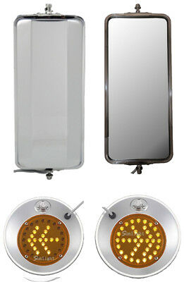 "Set of Stainless Steel West Coast and 8.5"" Convex w/ LED Turn Signal Mirrors"