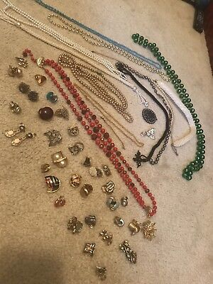 Lot of Vintage Costume Jewelry (33 Sets Of Earrings, 13 Necklaces, 1 Brooch, Etc