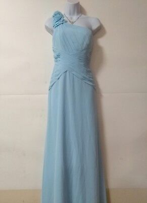41056d16965 Davids Bridal Beautiful Blue Long One Strap Bridesmaid Prom Dress Size 2