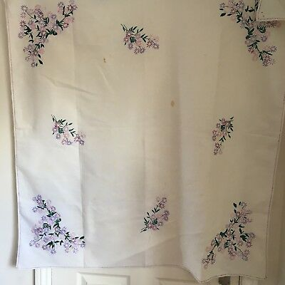 Vintage Hand Embroidered Tablecloth, Floral Flowers Multicolours, Pink Purple