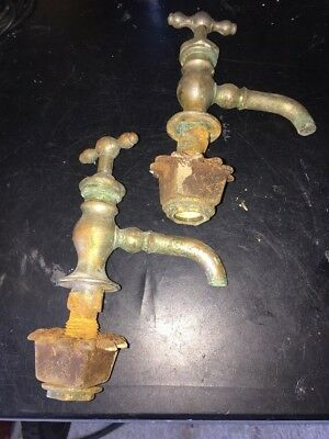 ANTIQUE HOT COLD MATCHED SET NICKEL OVER Brass Faucets  Bathroom KITCHEN