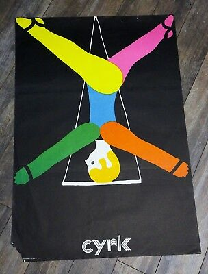 Vintage 1974 Circus Carnival Poster Polish Cyrk Trapeze Boy Tight Rope Art RARe