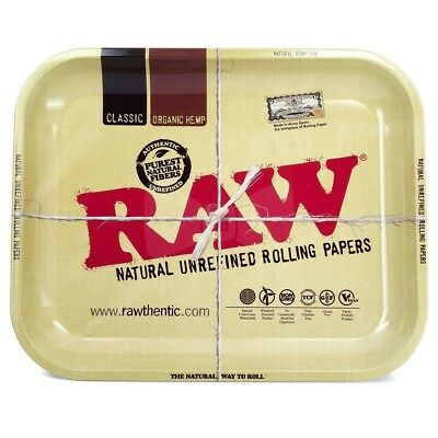 RAW Full Size Metal Rolling Tray Large 14 x 11 Inch Roll Cigarette Tin Tray New