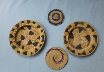 2 Vintage African Tutsi Woven Tray Mats & 2 Other Shallow Trays/baskets