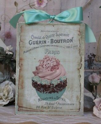 """~ """"Flower Cupcake..."""" ~ Shabby Chic Vintage Cottage style ~ Wall Decor Sign ~"""