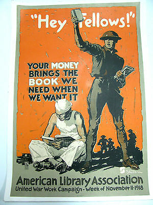 Original WWI War Poster,Hey Fellows, American Library Association,1918, ALA,Book