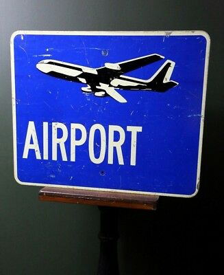 """Vintage Airport Airplane Reflective Sign Aviation Aircraft Pilot Plane 30"""" X 24"""""""