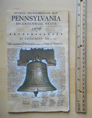 1976 Pennsylvania PA Official Road Map 1776-1976 Bicentennial Excellent Cond!
