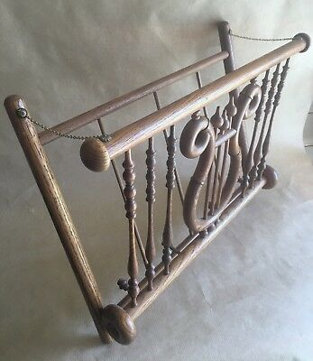 Antique Oak Stick n Ball Magazine Sheet Music Wall Rack Harp