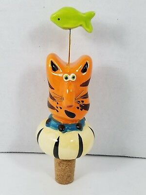 Vintage Kappets Brand Whimsical Orange Tabby Cat Bottle Stopper Item #2115-0 MIB