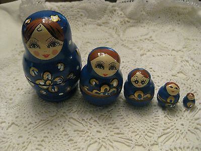 Russian  Wooden Nesting Dolls Lady 5 Piece
