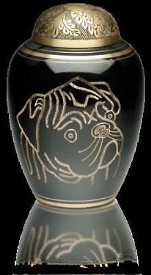 Solid Brass Cremation Urn with Hand-Etched Pug