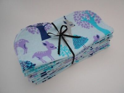 "Cloth Wipes 20 Baby Flannel 8""x8"" Boy Girl Deer Blue Purple Woodland 1 or 2 Ply"