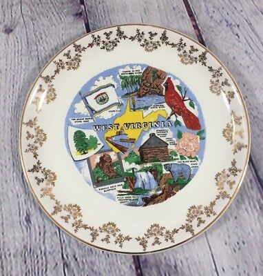 "Vtg West Virginia Souvenir State Plate Gold Trim - 9.25"" / Decorative"