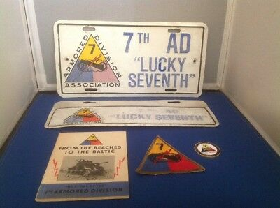 History WWII 7th Armored Division Book, Patch, License Plates. Col. Sam H. Sharp