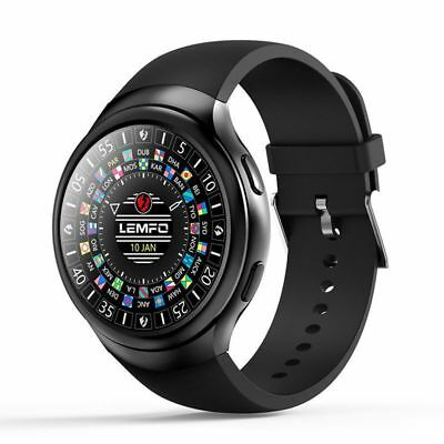 LEMFO LES2 black Bluetooth 1/16GB Smart Watch 3G SIM GPS WiFi For Android I T7L9