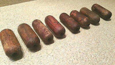 Lot Of 8 Vintage Wood Net Floats Wooden Fishing Floats Lake Buoys Beautiful Wood