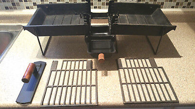 Vintage Cast Iron Portable Foldable Hibachi Grill BBQ Good Clean Condition!