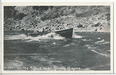 Scenic Rogue River near Agness, Gold Beach, Curry County, OR. RPPC postcard