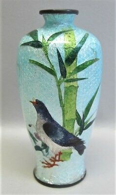 Fine JAPANESE MEIJI-ERA Cloisonne Vase w/ Sea Bird Design  c. 1880 antique