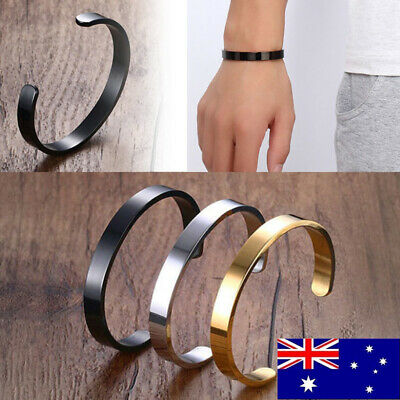 Bracelet Stainless Steel Plain Polished Mens Cuff Bangle Silver Black Gold Satin
