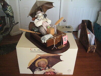 "Norman Rockwell Clothtique Figurine"" Gone Fishing"" In Box.  Large 12 x 17"
