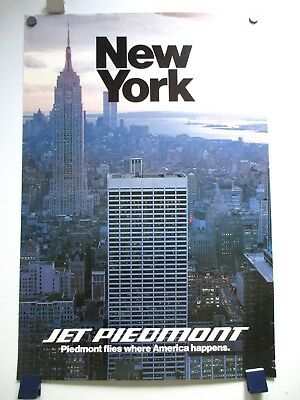Vintage Piedmont Airlines Nyc Skyline Twin Towers Glossy Travel Poster 1970's