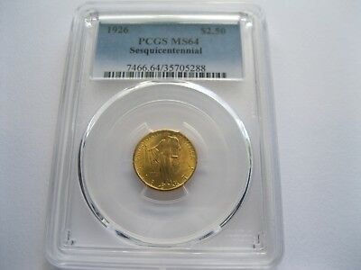 1926 $2.50 Sesquicentennial Gold Commemorative, PCGS MS 64, Low Mintage: 46,019