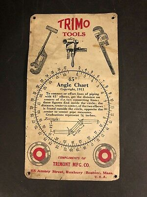 Vintage Sign Trimo Tools 45 degree Angle Chart 1911 Pipefitter Plumber HTF RARE