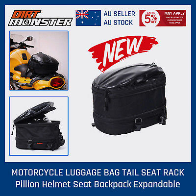 MOTORCYCLE LUGGAGE BAG TAIL SEAT RACK Pillion Helmet Seat Backpack Expandable