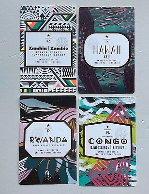 Starbucks taster reserve card - Canada - lot of 4 Zambia Hawaii Congo Rwanda