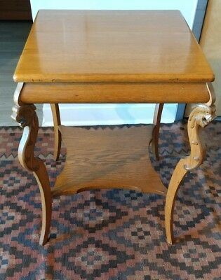 Antique Quarter Sawn Oak Parlor Table with CARVED GRIFFIN HEAD CURVED LEGS Lions