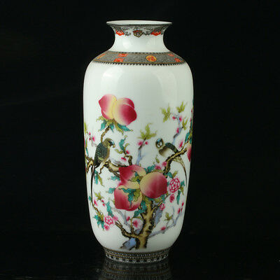 Chinese Porcelain Hand-Painted Peach Vase Mark As The Qianlong Period R1033