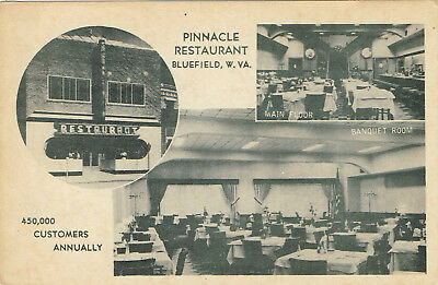 Vintage Pinnacle Restaurant Black-White Postcard Bluefield West Virginia Unused
