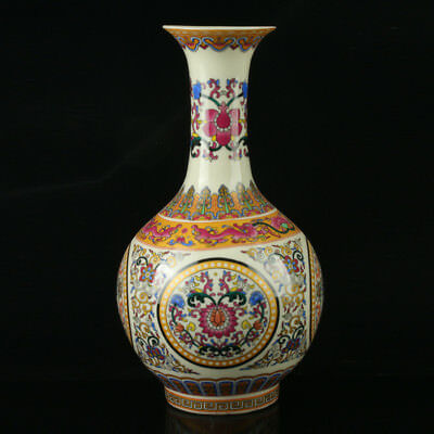 Chinese Porcelain Hand-Painted Pattern Vase Mark As The Qianlong Period R1054