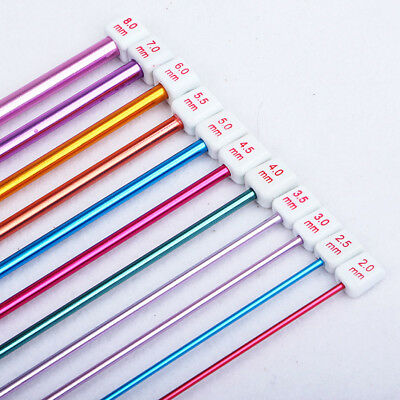 11pcs Colourful Aluminum TUNISIAN AFGHAN Crochet Hook Knit Needles Set Kit OZ