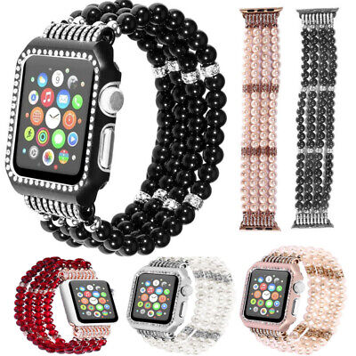 iWatch 3/2/1 42mm/38mm For Apple Watch Bling Pearl Beads Strap Bracelet Band