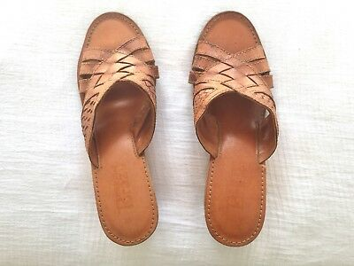 Brazil Vintage Brown Woven Leather Open Toe Wooden Wedge Mules Slip Ons Size 7.5