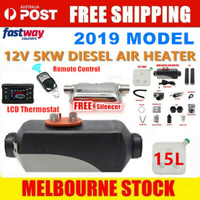 12V 5KW Diesel Air Heater 15L Tank Silencer Fliter T-Piece digital Switch