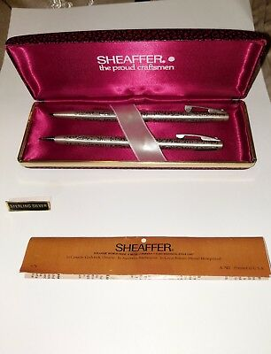 Sheaffer Vintage Pattern Sterling Silver Ball Point &  Pencil Set In Box