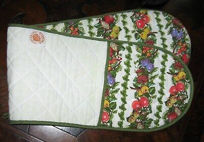 Portmeirion Pomona Cotton Quilted Fabric Double Oven Glove Mitt Pot Holder Fruit