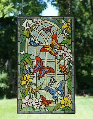"""20"""" x 34"""" Handcrafted stained glass window panel Butterfly Garden Flower"""