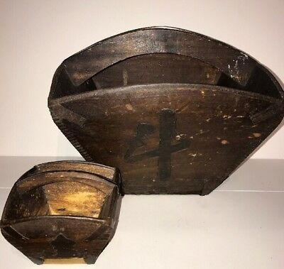 Antique Vintage Japanese Square Wooden Baskets x 2