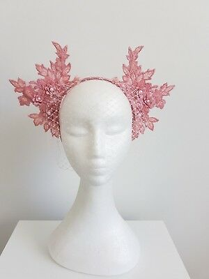Miss Lacey womens Dusty pink lace and veil headband fascinator
