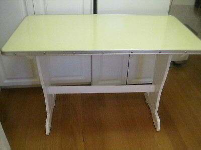 Retro Style Yellow Laminated Timber Kitchen Table