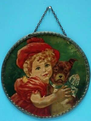 """Vtg Victorian Flue Cover / Stove Pipe Cover """"child W/dog"""" Metal Frame - Germany"""
