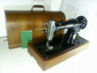 🔥VINTAGE SINGER 15-91 1952 Electric Portable Sewing Machine  Bentwood Dome