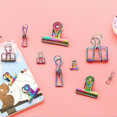 1pc Metal Binder Clip Rainbow Colorful Office Stationery Paper Documents Clip
